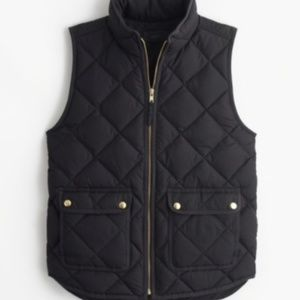 J.Crew Black Excursion Quilted Down Puffer Vest